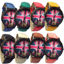 Hot sale uk flag casual watch 8 colors brand quartz watches vintage style women wristwatches relogio red