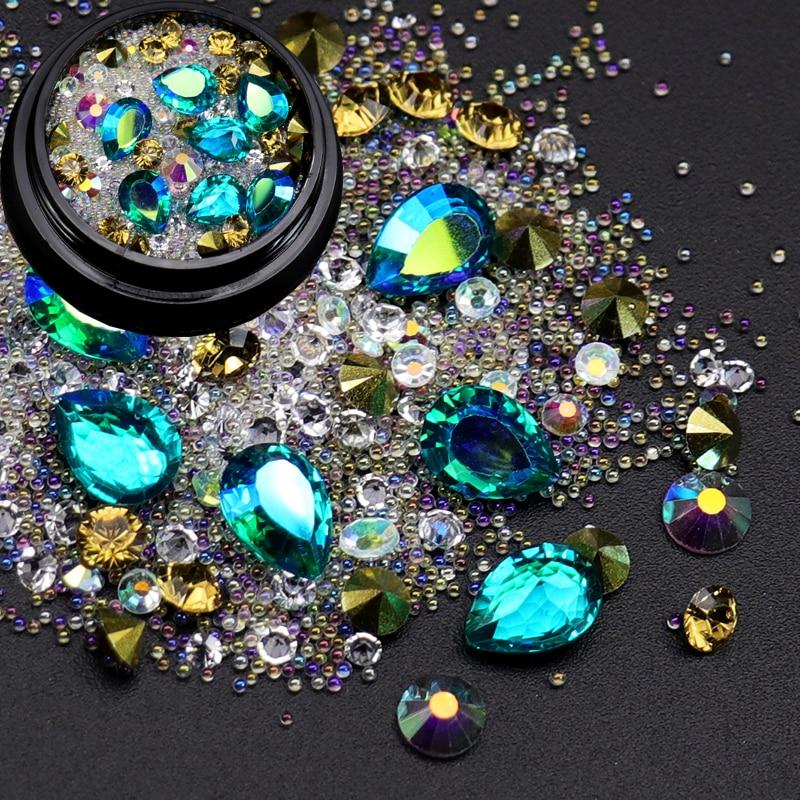 1 Box Nail Rhinestones Pointed Back Diamond Acrylic Beads Glass AB Colorful Gemstones Manicure Salon Accessory 1 box ab clear transparent nail art decoration mini glass tiny caviar beads 0 6 2mm ab crystal glass look caviar beads 4 sizes