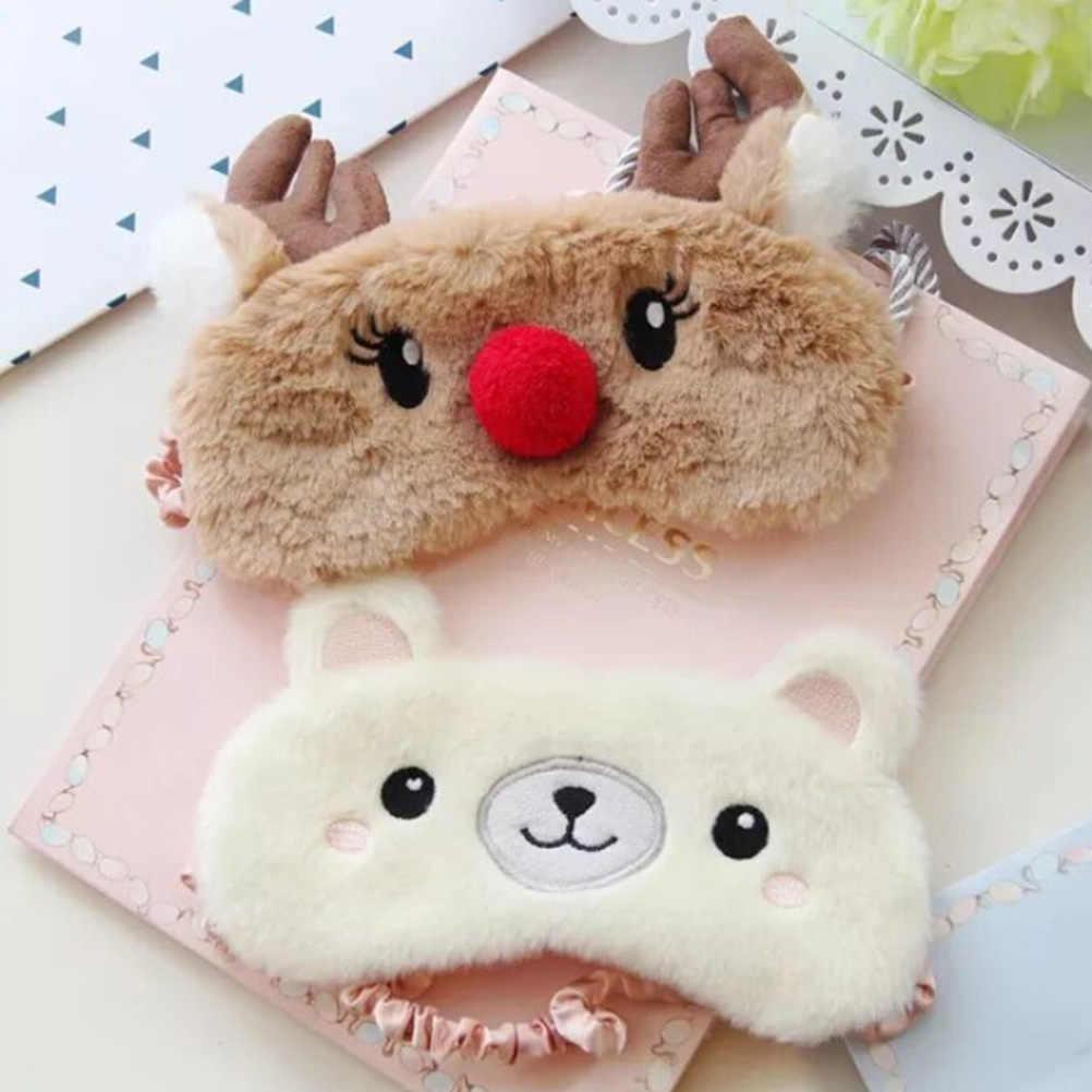 Moda sevimli kesim Koala/tavşan uyku göz maskesi şekerleme karikatür peluş göz bandı uyku maskesi siyah maske bandaj gözler uyku için