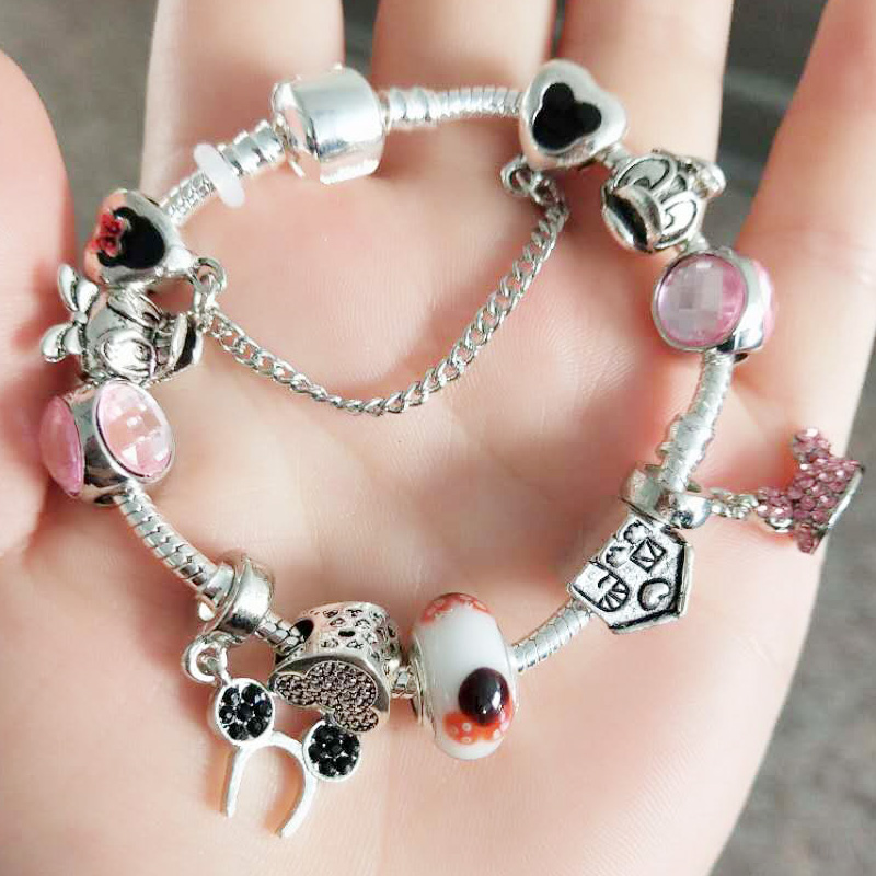 JUNESNOW Top Luxury Charm Bracelet Fot Women With Mickey Crystal Beads Silver Plated Snake Chain Jewelry fine Bracelet Z084