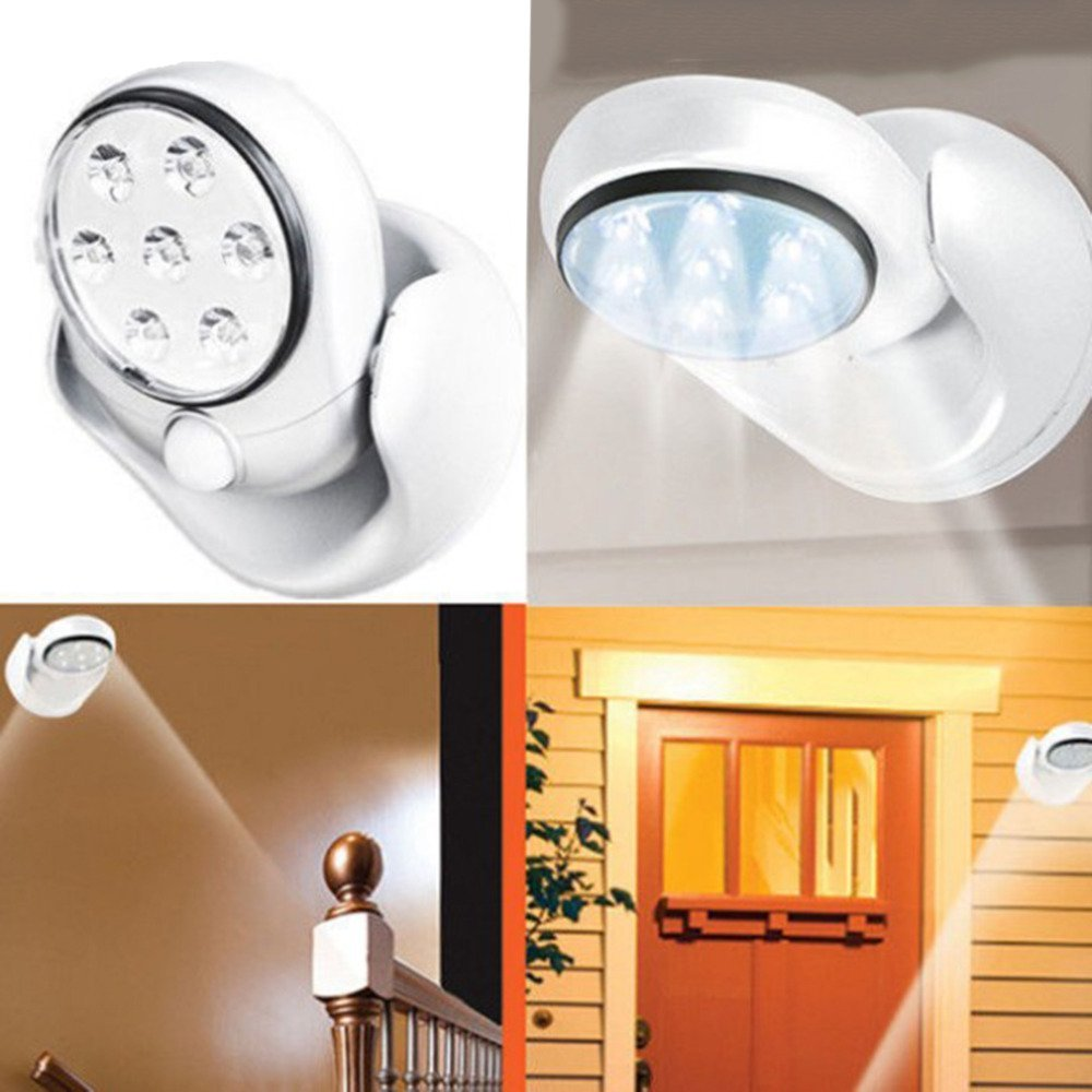 6V 7 LEDs Cordless Motion Activated Sensor Light Lamp 360 Degree Rotation Wall Lamps White Porch Lights Indoor Outdoor Lighting ...