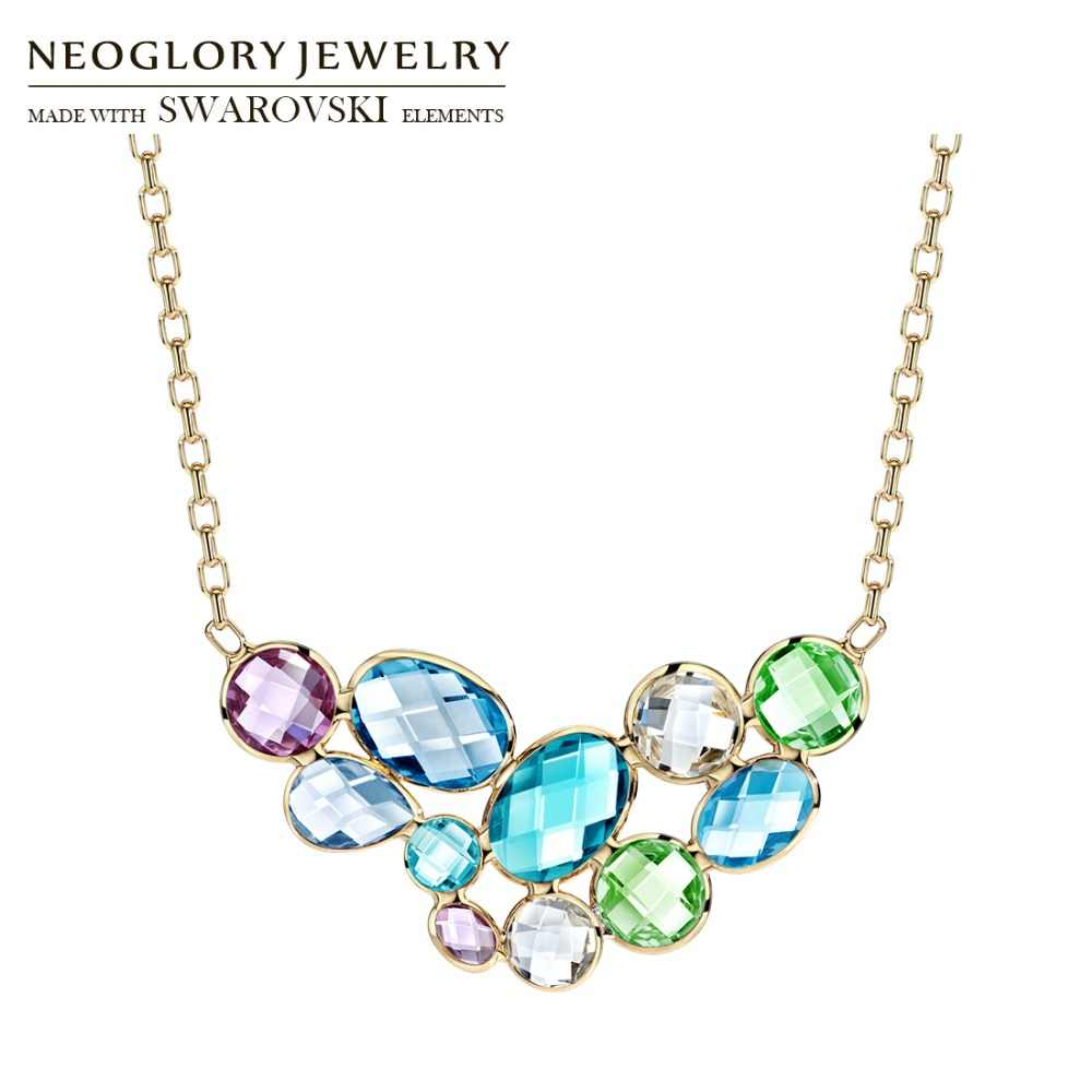 Neoglory Austria Crystal Long Pendant Charm Necklace Colorful Geometric Design Champagne Gold Color For Women Brand Gift