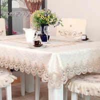 Mantel de poliéster estilo europeo mantel cuadrado bordado Floral hogar Hotel boda mesa cubierta decorativa toalha de mesa