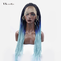 YXCHERISHAIR Long Senegalese Twist Synthetic Lace Frontal Crochet Wigs For Black Women Ombre Color 26 Inch