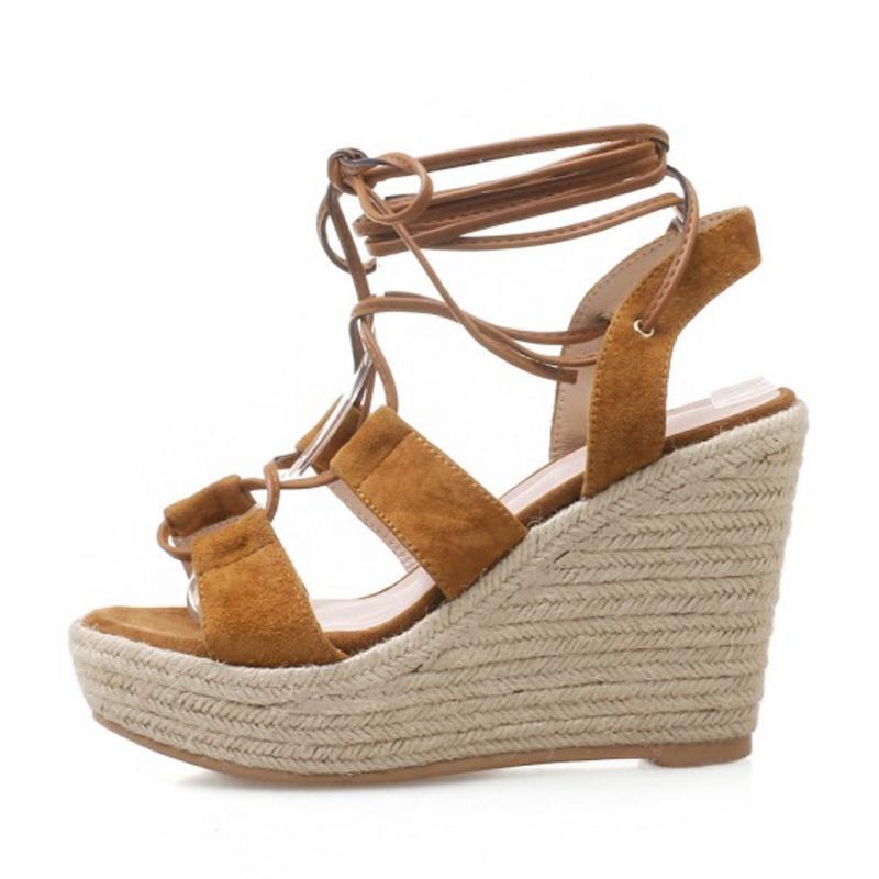 Sexy 34 Tamaño Moda Señoras 39 Zapatos Correa Gladiador Coolcept Real caramel Cruz Mujeres De Cuñas Negro Color Sandalias Las Plataforma Cuero Aq4daBpw