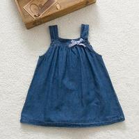 Cute Blue Solid Bow Cowboy Dress Children Kids Girls Strap Jean Denim Knee Length Dresses Summer