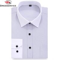 DRESSERVICE Large Size 5XL 6XL 7XL 8XL Classic Striped Men Dress Shirts Long Sleeve Business Formal