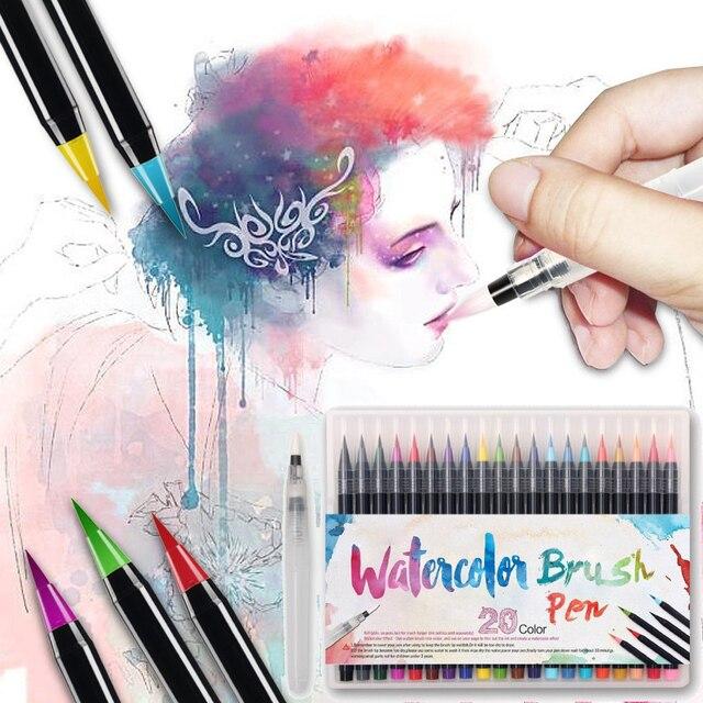 20 Color Painting Soft Brush Pen Set Watercolor Markers Pen Effect ...