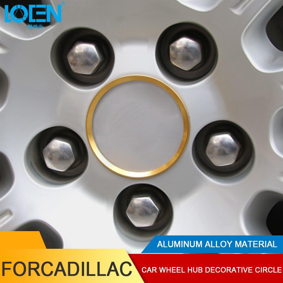 LOEN 4PCS For Cadillac XT5 ATSL XTS SRX Aluminum Alloy Wheel Rim Sticker Ring Wheel Hub Center Decoration Circle Car Stickers