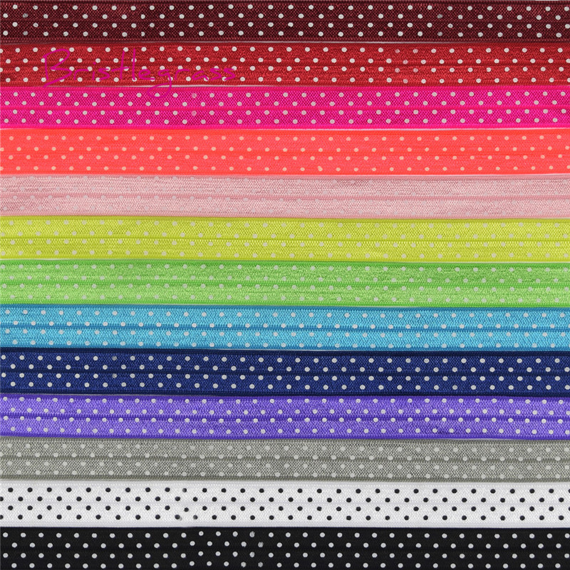 "BRISTLEGRASS 5 Yard 5/8"" 15mm Polka Dot Print Shiny Fold Over Elastics FOE Spandex Band Hair Tie Headband Dress Lace Trim Sewing"