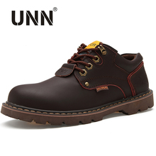 UNN Spring Autumn Ankle Boots Tooling Shoes Leather Casual Shoes Men Lace Up Waterproof Work Traveling Shoes Mens Work Shoes