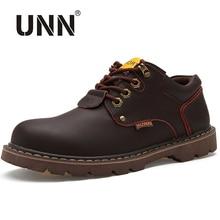 UNN ربيع الخريف حذاء من الجلد الأدوات الأحذية الجلدية حذاء كاجوال الرجال الدانتيل يصل مقاوم للماء العمل السفر أحذية رجالي أحذية عمل