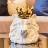 Unique ceramic lion and crown ceramic storage jars Creative Lion Decorative Food Storage pots