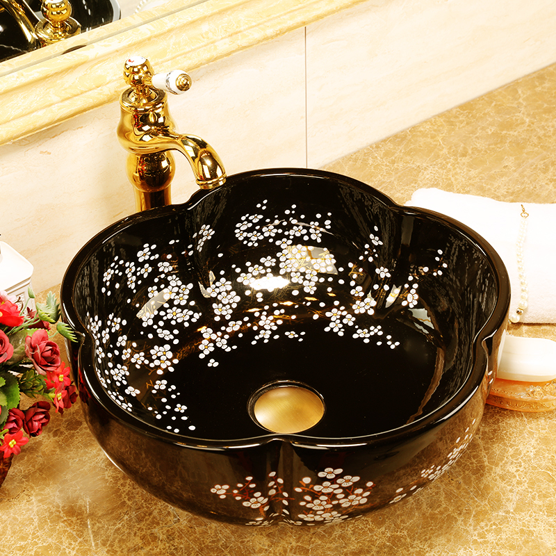 Black glazed porcelain bathroom vanity bathroom sink bowl countertop bathroom sink Ceramic wash basin