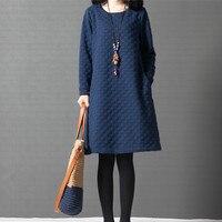 Ilstile 2017 Women Long Sleeve O Neck Dots Casual Loose Midi Dress Autumn Winter Cotton Plus