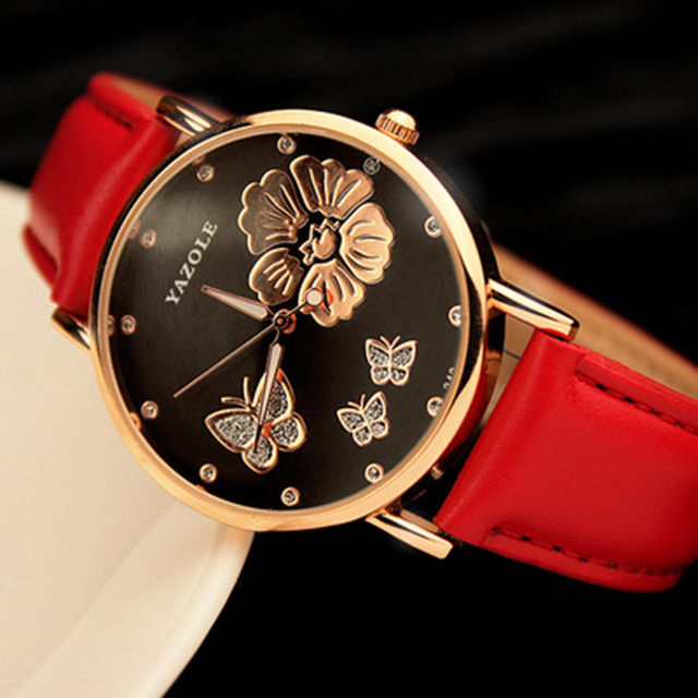 2018 New Fashion Yazole Butterfly Flower Bling Genuine Leather Quartz Wedding Wristwatches Wrist Watch Women Montres Femme