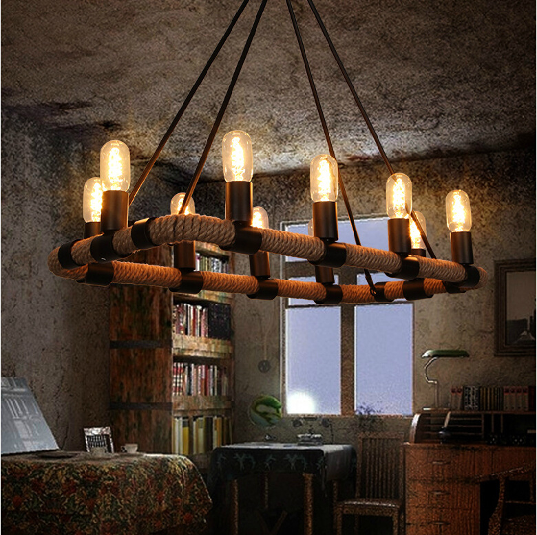 Small Vintage Bar Lights: Industrial Lamp Rope Lamp Light Fixtures 10 Lights Retro