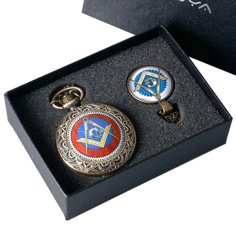 2019 New Arrival Freemasonry Free Masonic Pocket Watch Set Necklace Pendant Watches BOX Best Gift Set For Men Women Dropshipping