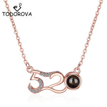 Todorova New Creative 100 Languages I Love You 520 Necklaces Romantic Memory Pendant Choker Lady Girl Valentine Day Gift