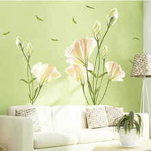 97x135cm Warm romantic lily wall stickers For livingroom sofa TV background wall art poster fashion home decor stickers mural