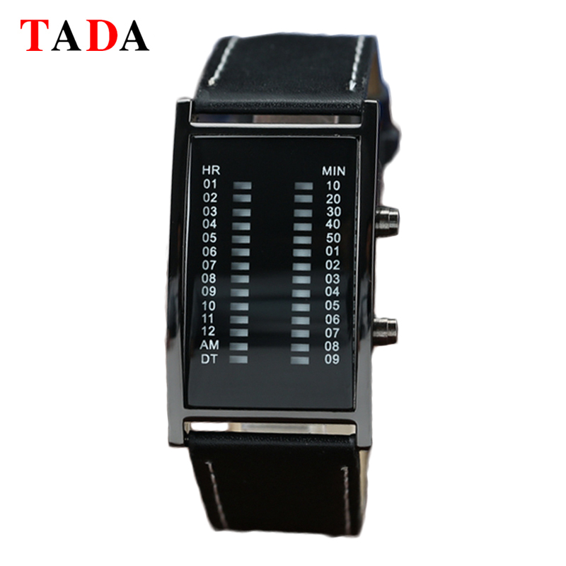 Led Watches Digital Watch Sport Watch Rectangle Dial Double Row Light Display Fashion Leather Reloj Hombre For Men