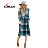 Dasbayla Women A Line Swing Dress 2018 Winter Spring Long Sleeve Pocket Plaid Midi Dresses Thick