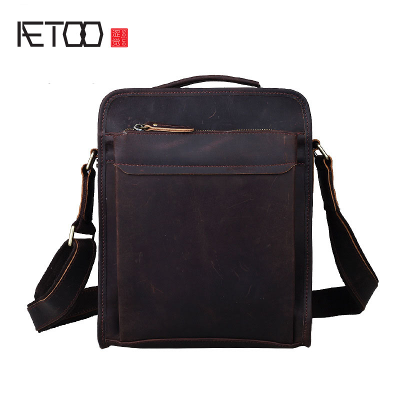 AETOO New Europe and the United States retro leather handbag shoulder bag head cowhide female Messenger bag IPAD package aetoo the new female bag of fringes blooming bag bag ring package retro iron ring portable shoulder messenger bag