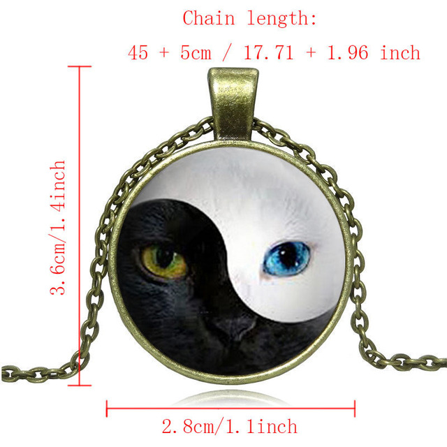 YIN YANG Cat Pendant Necklace Blue Cat Eye Silver Glass Dome