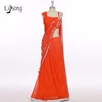 High end Индии сари реальное изображение Горячий красный 2 шт. Выпускные платья с нежным кристалла Русалка Длинные Пром платья на одно плечо A027
