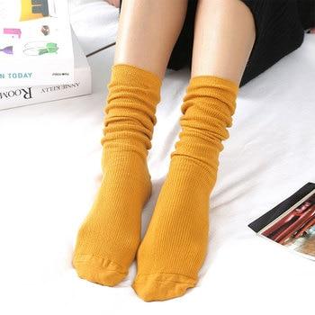 1Pair New Autumn Winter Wear Cute Cotton Solid Color School Style Long Soft Piles Socks Edge Curl Stocks For Women Girls - discount item  14% OFF Women's Socks & Hosiery