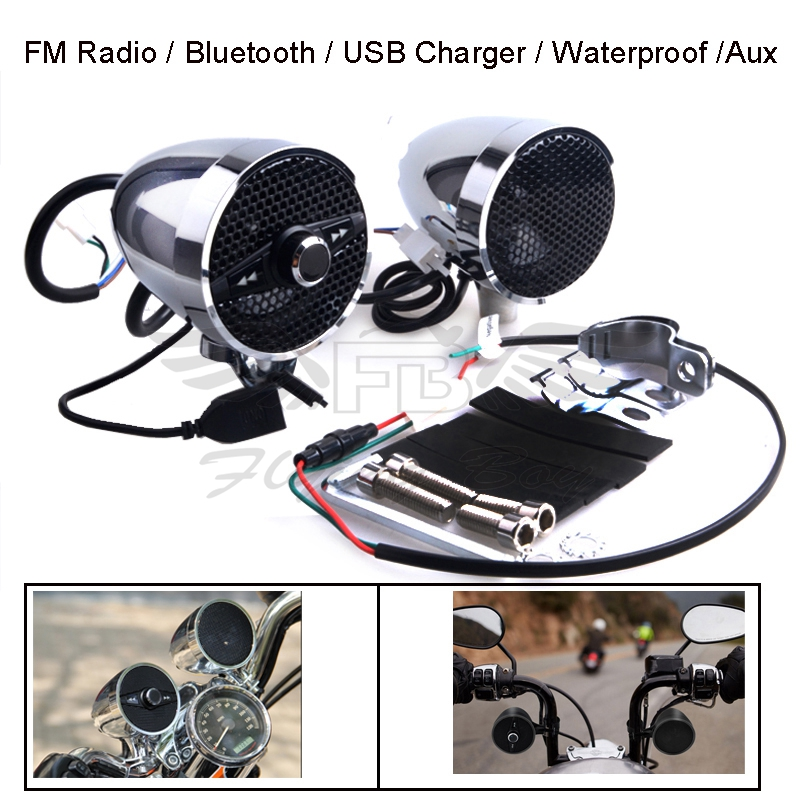 цена на New Motorcycle Waterproof Stereo Audio Bluetooth MP3 Speakers for Honda Yamaha Suzuki Kawasaki BMW KTM Ducati Harley Davidson