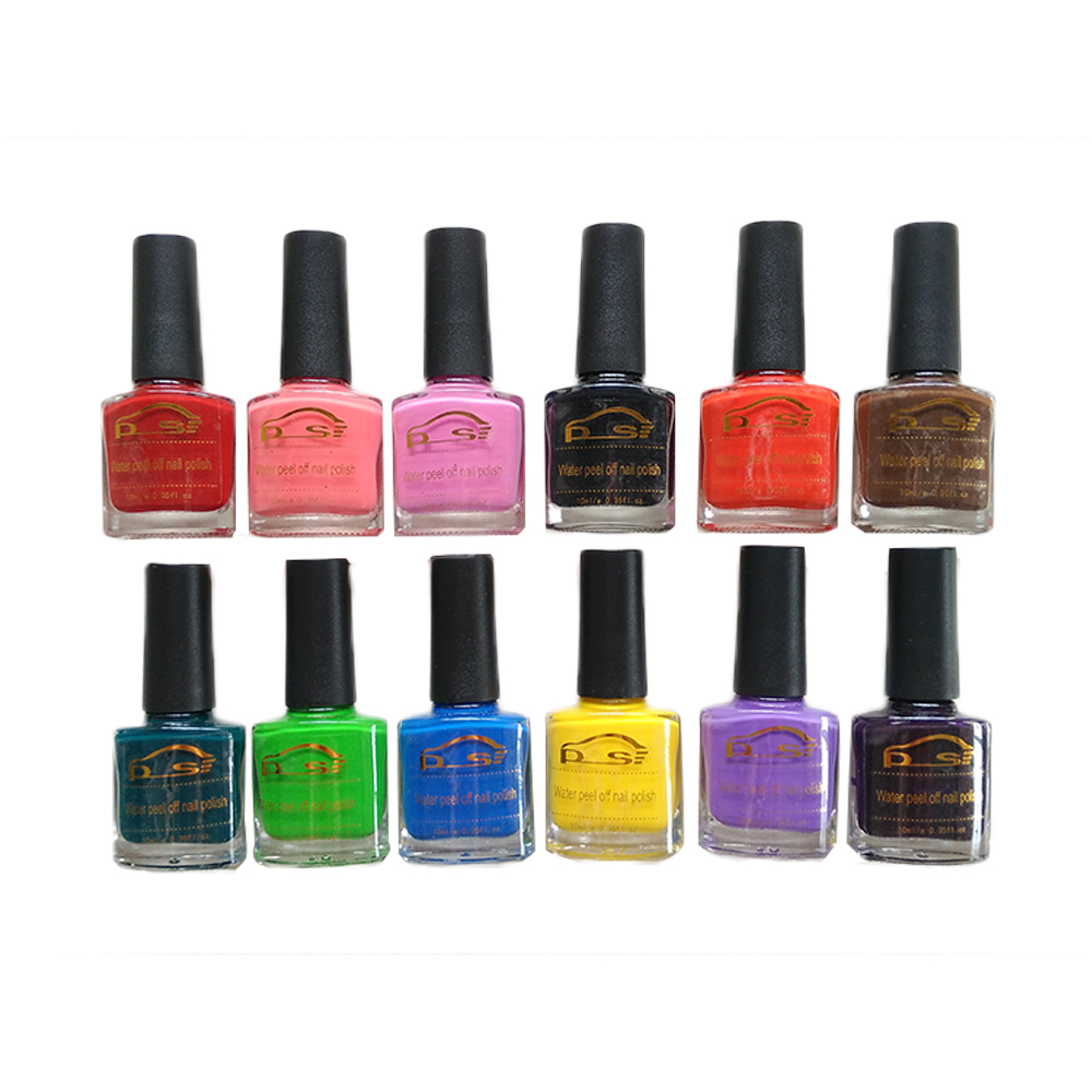 10ml 12 colors water peel off nail polish quick dry diy for Diy shoes with nail polish