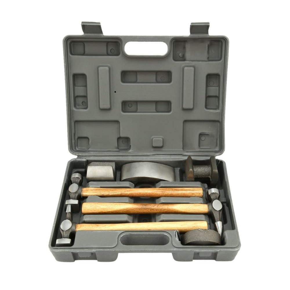 7 Pcs/Set Dent Repair Tool Denture Hammer Set with Carrying Box Bump Tool Car Bodywork Sheet Metal Portable Durable Tools Kit цена