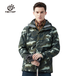 Tectop outdoor men Women shell+Liner Two pieces set  thermal waterproof windproof hiking camping printing camouflage jacket coat lurker shark skin soft shell v4 military tactical jacket men waterproof windproof warm coat camouflage hooded camo army clothing