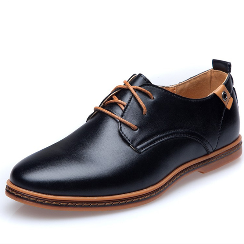Brand Men Leather Shoes England Trend Casual Shoes Male Oxford Leather Dress Shoes Zapatillas Men Flats Plus Big Size Sneakers