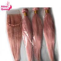 Brazilian Straight Hair Bundles with Closure Atina Queen Pink Hair Bundles 4x4 Lace Closure with Baby Hair Remy Human Hair Weave