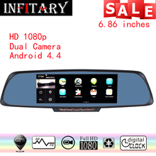 7 Car DVR 6.86″Touch screen navigator 1GB 16GB Android GPS Navigation Mirror Car DVR dual lens camera rear parking WiFi FM