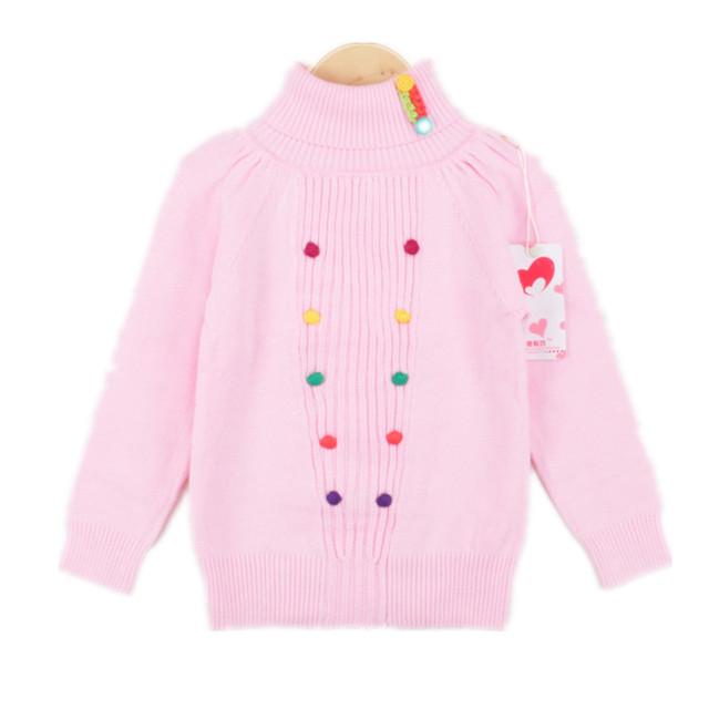 Meninas Camisola crianças Camisola de Gola Alta de Inverno para As Meninas Rosa Cinza camisola Menina Cardigan Pullover puxar fille 2-9 T