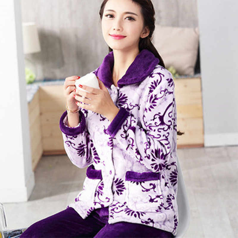 afe5b99e59 Pajama Female Winter Warm Sexy pajamas Set Polyester Full Trousers Lady Two  Piece Cute Cartoon Home