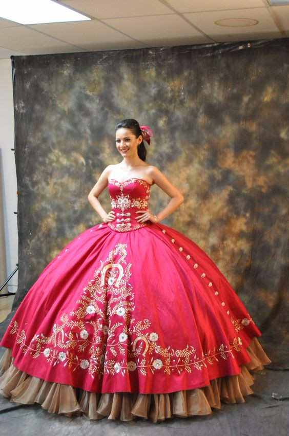 Girls Ball Gown Quinceanera Dresses Sweetheart Luxury Gold Embroidery  Pleats Floor Length Wedding Party -in Bridesmaid Dresses from Weddings    Events on ... 66e2df7c56d8