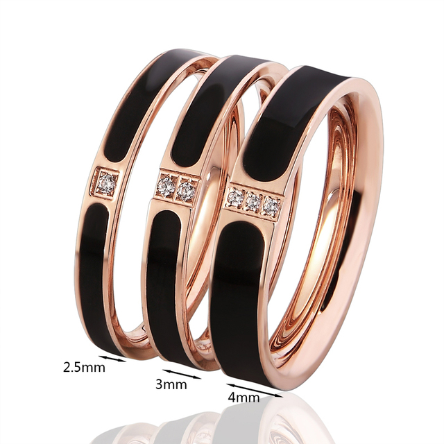 Top Quality Famous Brand Women Rings 3 Sizes Enamel And Crystal Ring Elegant And Beautiful Rose Gold Color Wedding Bands