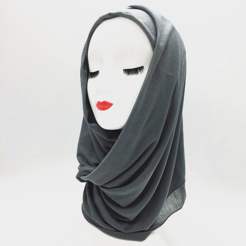 27 Color Premium Hot Adult jersey Long Muslim Hijab The New Turban Jersey Wholesale Wraps Scarf Monochrome Widening High-grade