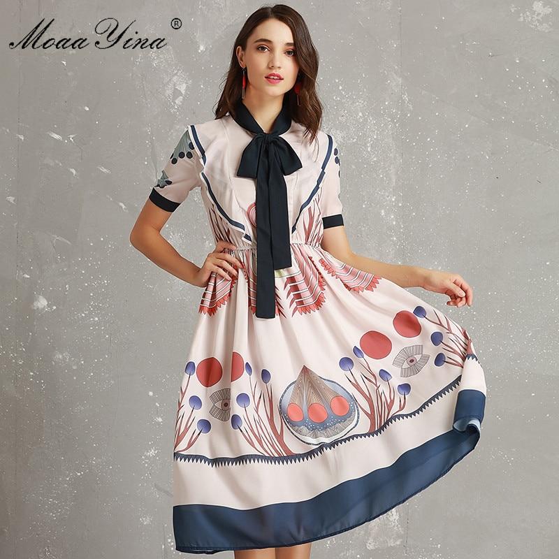 Ruches Manches Robe Piste Arc Collier Printemps Fashion Multi Designer Courtes Élégante Moaayina Floral Vacances Femmes Exotique Imprimé yYb6gf7