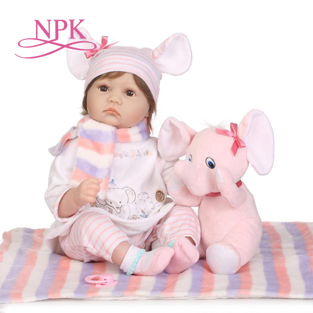 NPK 55cm Silicone Reborn Baby Doll kids Playmate Gift For Girls 22 Inch Baby Alive Soft Toys For Bouquets Doll Bebe Reborn kemei hair clipper electric trimmer hair cutting beard trimmer shaving machine rechargeable hair trimmer shaver razor barber