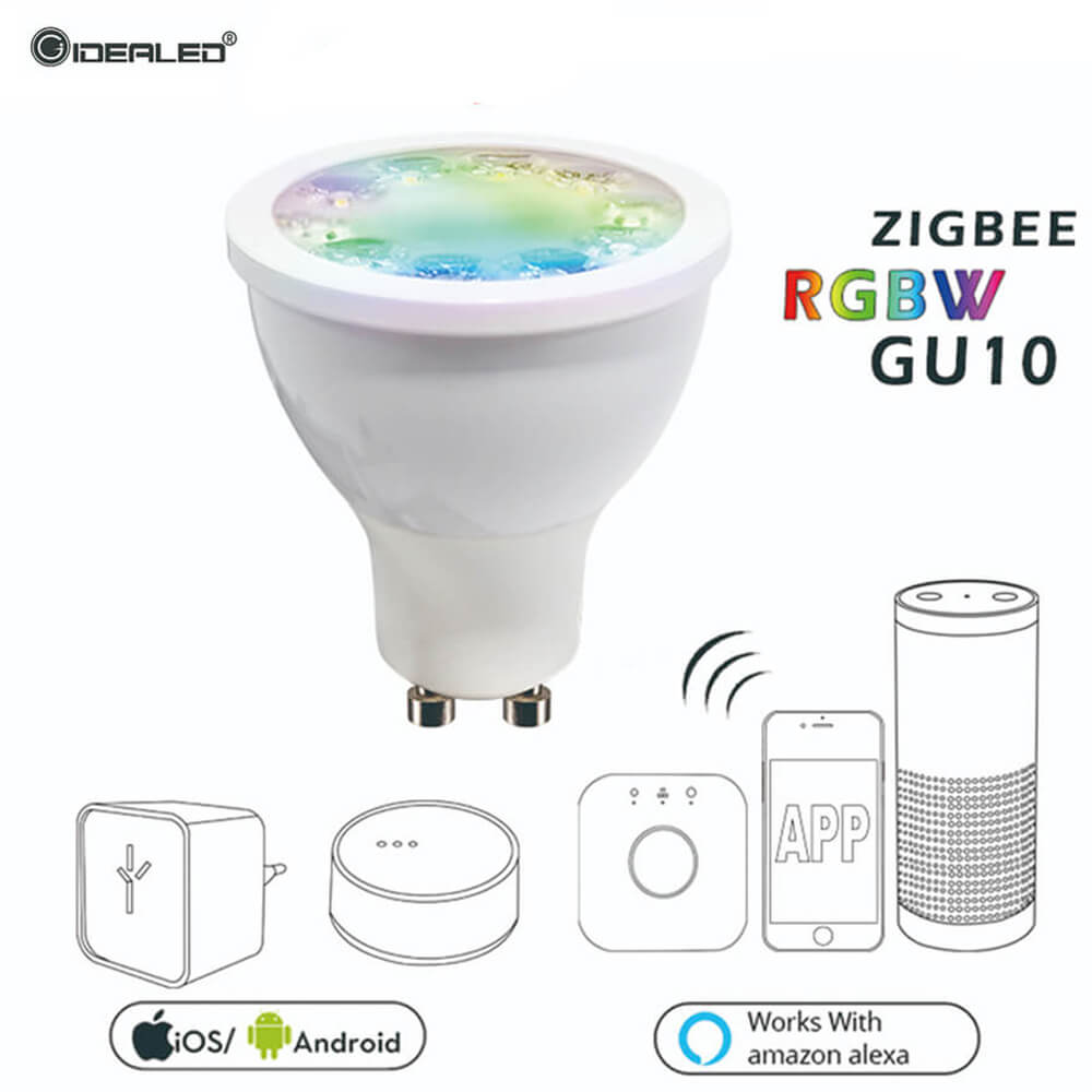Zigbee hub LED Dimmer GU10 RGBW Bulb LED Spotlight Bridge Smart AC100-240V LED Bulb Work With ECHO Plus APP Dimmable Light