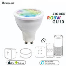 Zigbee hub LED Dimmer GU10 RGBW Bulb Spotlight Bridge Smart AC100-240V Work With ECHO Plus APP Dimmable Light