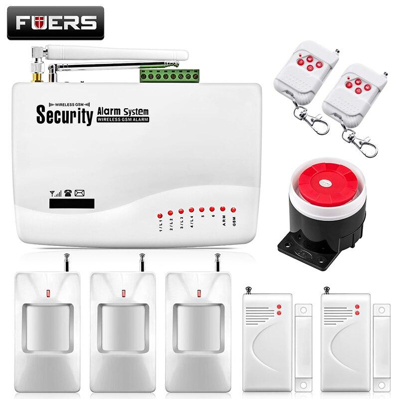 Fuers русская Голосовая Беспроводная GSM сигнализация двойная антенна ПЭТ PIR датчик движения Детектор дыма Беспроводная охранная сигнализация