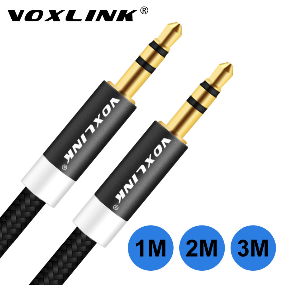 VOXLINK 3.5 mm Jack Audio Cable 3.5mm Male to Male Stereo Auxiliary Cord for iPhone 6 6S Car PM4 PM3 headphone Speaker aux cord voxlink original bradid nylon 3 5mm jack audio extension cable male to female aux stereo cable for phone headphone pc audio cord