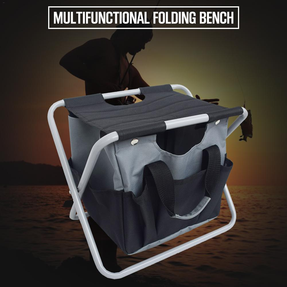 Outdoor Foldable Stool with Tool Bag Multifunctional Portable Camping Folding Fishing Stool Garden Tool ChairOutdoor Foldable Stool with Tool Bag Multifunctional Portable Camping Folding Fishing Stool Garden Tool Chair