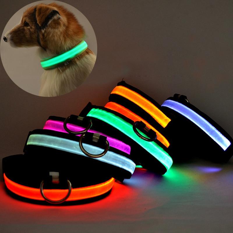 2017 New LED Nylon Pet Dog Collar Night Safety Glow Flashing Dog Cat Collar Led Luminous